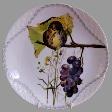 """Charles Haviland & Co. Hand Painted """"Bird"""" Shallow Bowl/Plate - Artist Initialed - Circa 1880"""