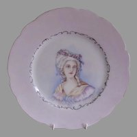 "Charles Haviland Hand Painted Portrait Plate of ""Victorian Lady of Stature"" - Circa 1890"