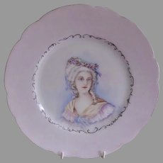 """Charles Haviland Hand Painted Portrait Plate of """"Victorian Lady of Stature"""" - Circa 1890"""