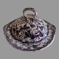 "Staffordshire Mulberry Transfer-ware Covered Tureen ""Lily & Rose"" Pattern"