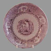 "Jacob Furnival & Co. Purple Transfer-ware ""Castle Scenery"" Pattern Sauce Bowl"