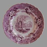 "Thomas Mayer Purple Transfer-ware Dinner Plate ""Abbey Ruins"" Pattern"