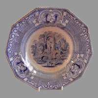 "Livesley, Powell & Co. Ironstone Transfer-ware ""Abbey"" Pattern Soup Bowl"