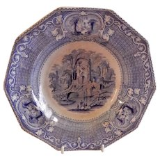 """Livesley, Powell & Co. Ironstone Transfer-ware """"Abbey"""" Pattern Soup Bowl"""