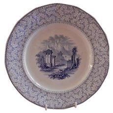 """Ridgway & Morley BLue Transferware """"Pantheon"""" Plate"""