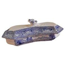 Staffordshire Blue Transfer-ware Covered Razor Box
