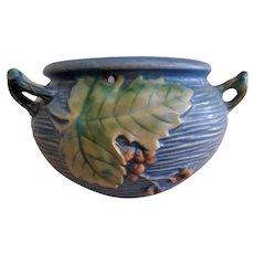 """Roseville Pottery """"Bushberry"""" Blue Hanging Basket - #465-5"""