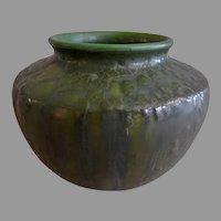 """Ephraim Faience Pottery """"Experimental"""" Vase - Curdled Leaf Green Glaze"""
