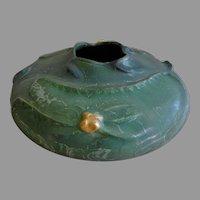 "Ephraim Faience Pottery ""Lily Pond"" Vase - Leaf Green & Satin Yellow Glazes"