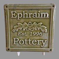 """Ephraim Faience Pottery """"Customer Appreciation"""" Tile"""