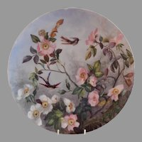 "Charles Haviland & Co. Hand Painted ""Wild Roses & Exotic Birds"" Charger Plate - Artist Initialed & Dated 1881"