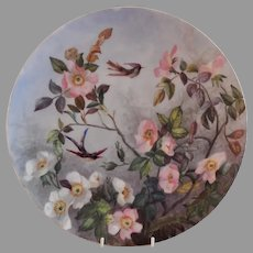 """Charles Haviland & Co. Hand Painted """"Wild Roses & Exotic Birds"""" Charger Plate - Artist Initialed & Dated 1881"""