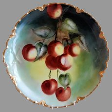 Charles Haviland & Co H.P. Charger Plate w/Huge Lush Cherries Motif - Artist Signed