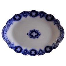 "Johnson Bros Blue Flow ""Savoy"" Pattern Oval 14"" Platter"
