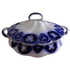 "Johnson Bros Blue Flow ""Savoy"" Pattern Round, Covered Tureen"