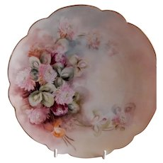 Rosenthal & Co. Hand Painted Cabinet Plate w/Pink Clover Blossoms Motif