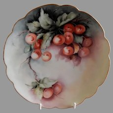 Bavaria Hand Painted, Signed, Cabinet Plate w/Red Cherries Motif