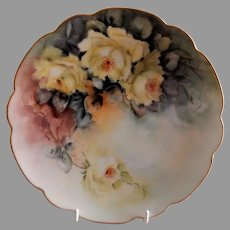 Bavaria Hand Painted Cabinet Plate w/Yellow Tea Roses Motif