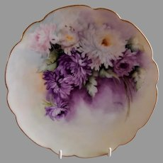 Bavaria Hand Painted Cabinet Plate w/Colorful Chrysanthemum Blossoms Motif