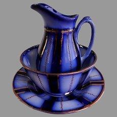"Gaudy Welsh Cobalt Blue & Copper Lustre ""Wagon Wheel"" 3 Piece Breakfast Set"