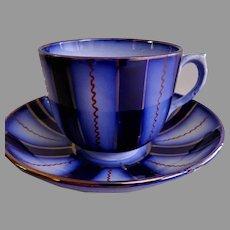 "Gaudy Welsh Cobalt Blue & Copper Lustre ""Wagon Wheel"" Cup & Saucer Set"