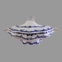 "William Grindley & Co Flow Blue ""Aldine"" Pattern Oval Covered Tureen"