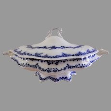 """William Grindley & Co Flow Blue """"Aldine"""" Pattern Oval Covered Tureen"""