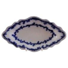 """William Grindley & Co Flow Blue """"Aldine"""" Pattern 9"""" Oval Relish Platter"""