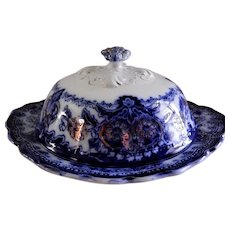 """Wood & Son Flow Blue """"Seville"""" Pattern Covered Butter Dish"""