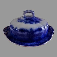 """W.R. S. & Co Blue Transferware """"Humphreys Clock"""" Pattern Covered Butter Dish"""