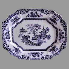 "T. Walker (Podmore, Walker & Co) Ironstone Mulberry Transferware ""Hong"" Pattern Platter"