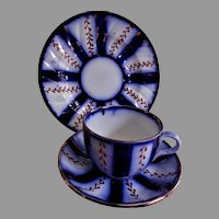 "Charles Allerton & Sons Gaudy Flow Blue ""Wagon Wheel"" Pattern - 3 Pc Trio Set"