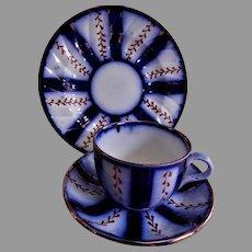 "Charles Allerton & Sons Gaudy Flow Blue ""Wagon Wheel"" Pattern - 3 Pc Trio Set"