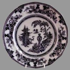 "W Adams & Sons Ironstone Black Transfer-ware ""Jeddo"" Pattern Plate"