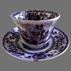 """Davenport Ironstone Black Transfer-Ware """"Cyprus"""" Pattern Handle-less Cup & Saucer"""