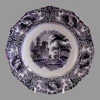 """Edward Walley Ironstone Black Transfer-ware """"Foliage"""" Pattern Plate"""