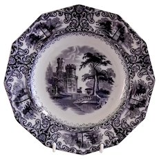 "Edward Walley Ironstone Black Transfer-ware ""Foliage"" Pattern Plate"