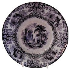 """Edward Walley Ironstone Black Transfer-ware """"Foliage"""" Pattern Sauce Bowl"""