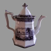 "John Alcock Ironstone Black Transferware ""Vincennes"" Pattern Tea Pot"