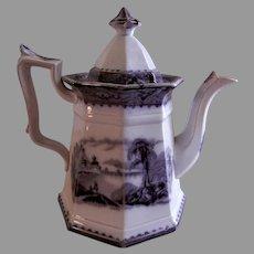 "John Alcock Ironstone Black Transferware ""Vincennes"" Pattern Tea Pot"