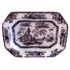 "E Challinor & Co. Ironstone Black Transferware ""Pelew"" Pattern Serving Bowl"