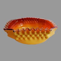 "Boston & Sandwich Glass Company Square Hobnail ""Tomato"" Art Glass Bowl"