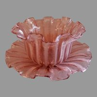 "Stevens & Williams Pink ""Zipper"" Pattern Finger Bowl & Under-Plate - Rd 55693"