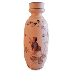 Victorian Bristol Glass Vase w/Young Lad, Butterfly & Floral Motif