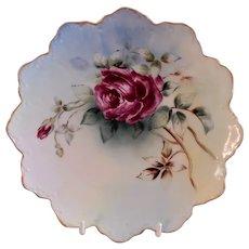 Mattie W Poole H.P. Porcelain Cabinet Plate w/Crimson Tea Rose Blossoms Motif