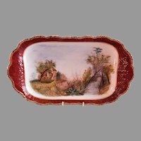 Charles Haviland H.P. Eleven Pc. Ice Cream Set (Platter & Bowls) - Scenic Motifs - Circa 1880