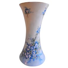 "Bavaria Hand Painted ""Forget-Me-Not"" Motif Vase - Artist Signed & Dated"