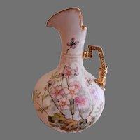 A. Stellmacher Habsbourgware  H.P. Porcelain Ewer w/Pink Floral Motif