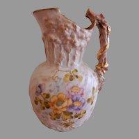 A. Stellmacher Teplitz H.P. Porcelain Pitcher w/Multi-Colored Roses Motif