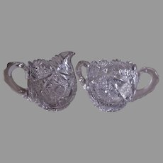 """Brilliant"" Cut Glass Sugar & Creamer"